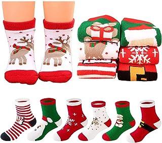 Christmas Socks - MMTX 6 Pairs Cartoon Cotton Sock Xmas Stockings Gifts for Kids