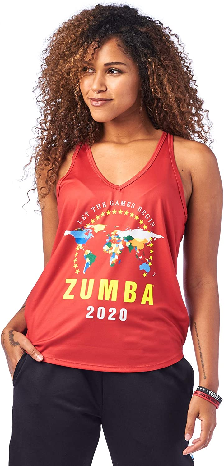 Zumba Graphic Print Dance Tank Activewear Workout Tops for Women Chemise Femme