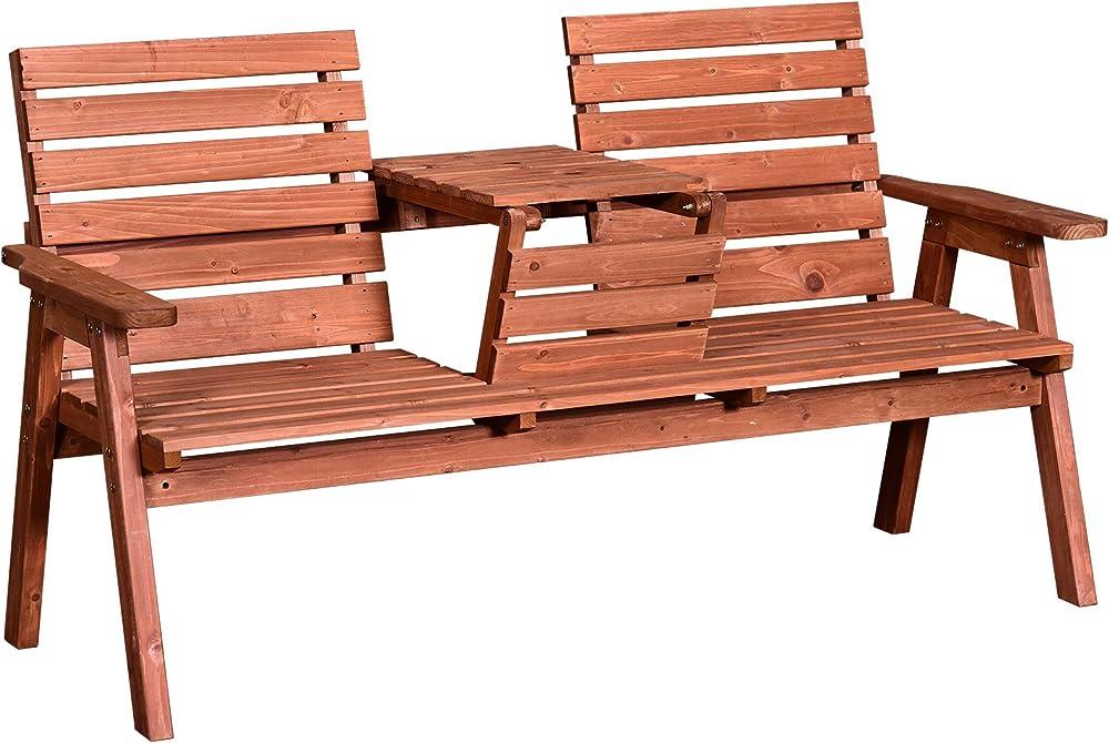 Outsunny panchina da esterni in legno di abete 2 o 3 posti con tavolino convertibile in seduta impermeabile IT84B-3950631