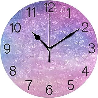 Chovy 掛け時計 置き時計 北欧 おしゃれ かわいい サイレント 連続秒針 壁掛け時計 インテリア 宇宙 水彩 星柄 パープル 可愛い かわいい 部屋装飾 子供部屋 プレゼント