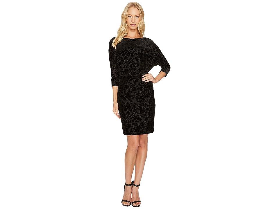 Adrianna Papell Blouson Burnout Velvet Dress (Black) Women