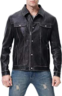 A7X JINGBI Mens Leather Motorcycle Jacket Pu Biker Cowhide Waterproof Bomber Coats Lightweight Winter with Button Stitching