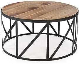 Living Room Furniture Metal Nordic Solid Wood Living Room Coffee Table End Table - Creative Simple Iron Art Metal Frame - ...