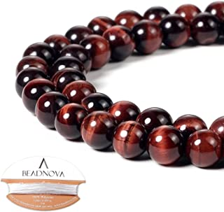 BEADNOVA 8mm Red Tiger Eye Gemstone Round Loose Beads for Jewelry Making (45-48pcs)