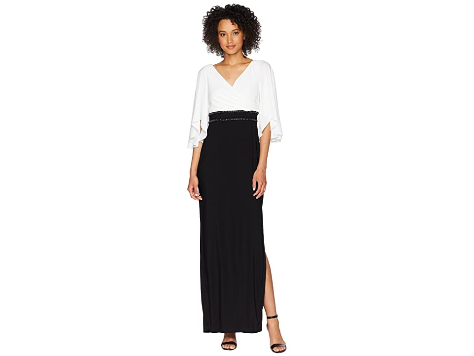 Adrianna Papell Elbow Sleeve V-Neck Jersey Color Block Gown (Ivory/Black) Women