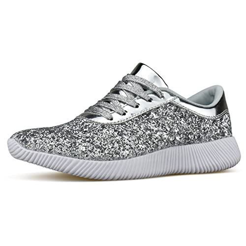 01ad6b8188c0 Womens Wedge Platform Fashion Sneaker Glitter Metallic Lace up Sparkle Slip  On Street Casual Running Shoes