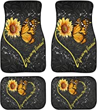UZZUHI Butterfly Bee 2 Pack Car Floor Mats All Weather Protection Waterproof Car Mat Non-Slip Rubber Backing for Women Ladies Girl-You are My Sunshine Sunflower