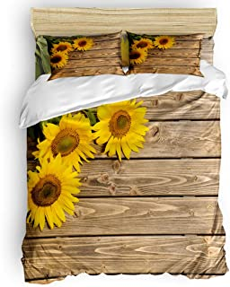 T&H Home 4 Pcs Bedding Sets, Custom Sunflowers on Rustic Old Barn Wood Print Down Comforter Cover/Flat Sheet with Matching Pillowcases for Adults Teens Kids King Size
