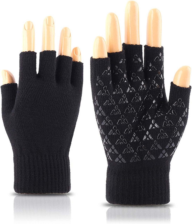 Unisex Winter Knitted Fingerless Gloves Half Finger Anti-slip Warm Mittens Glove for Men Women Boys Girls