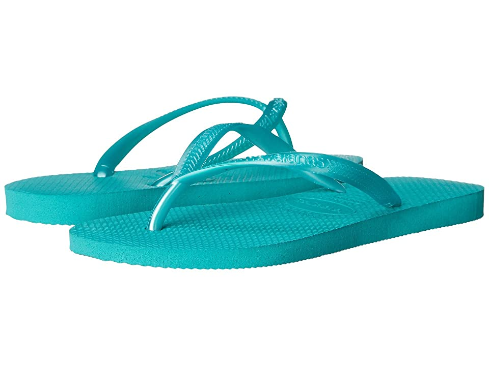 Havaianas Kids Slim Flip Flops (Toddler/Little Kid/Big Kid) (Lake Green) Girls Shoes