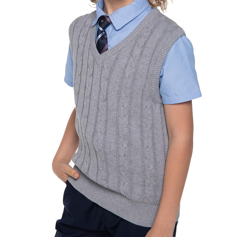 Benito & Benita Boys' Sweater Vest Cotton V-Neck Uniform Pullover Sweater for Kids 3-12 Year