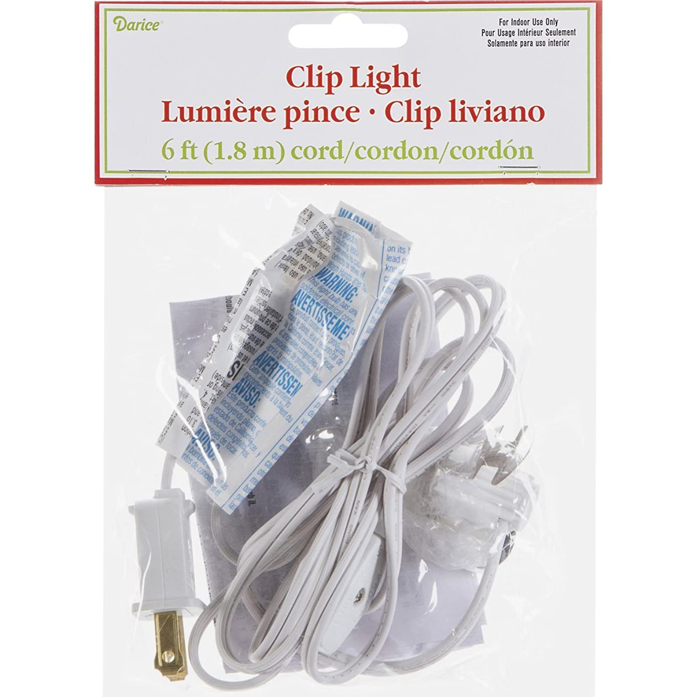 Darice Accessory Cord with One Bulb Light – 6' White Cord with On/Off Switch Plugs Into Electrical Outlet – Perfect for Lighting Holiday Decorations and Craft Projects (1 Cord)
