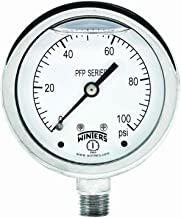 Winters PFP Series Premium Stainless Steel 304 Single Scale Liquid Filled Pressure Gauge, 0-100 psi, 2-1/2