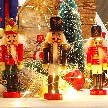 Jolik 6 PCS Nutcracker Ornament Set Wooden Nutcracker Christmas Ornaments