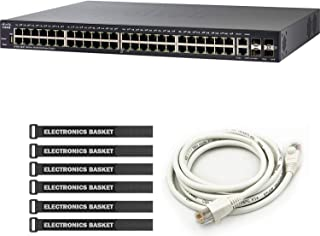 Cisco SG250X-48 48-Port Gigabit with 4-Port 10-Gigabit Smart Switch + 5-Foot Ethernet Cable + Cable Ties - SG250X-48-K9-NA