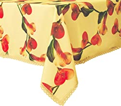 Wewoch Decorative Floral Print Rectangle Tablecloth Water Resistant Wrinkle Free and Stain Resistant Fabric Table Cover for Kitchen Room (Yellow, 60