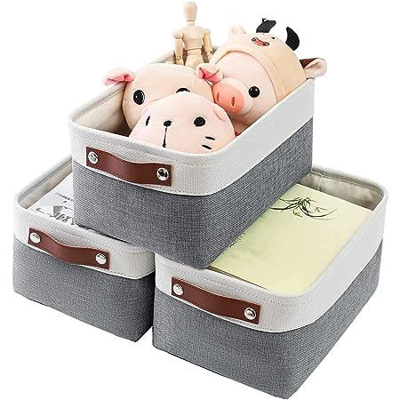 MANGATA Panier de rangement en tissu, 3 boîtes de rangement pour la maison, la chambre à coucher, le dortoir, les vêtements, le maquillage (S, lot de 3)