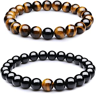8mm Black Matte Agate & Tiger Eye Healing Energy Stone Beads Distance Bracelets for Couples(2 pcs)