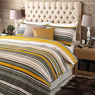 Lymington Single Bed Duvet Set - Yellow, Grey and White - Striped Design - 1 x Housewife Pillowcase Included - 100% Brushe...