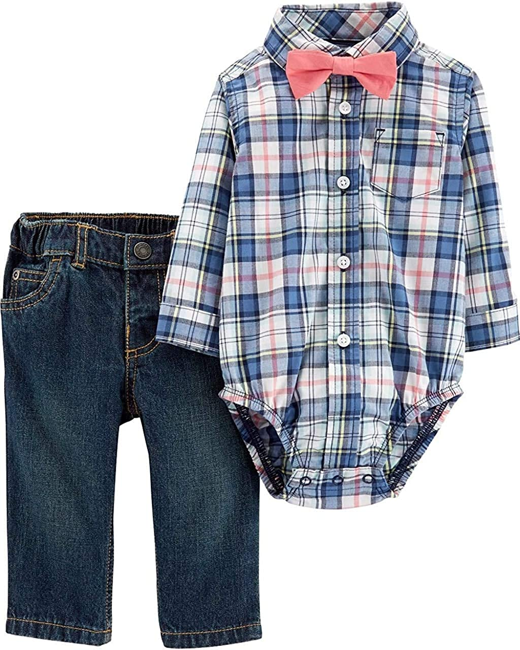 Carter's Baby Boy's Easter Outfit with Bow Tie - Blue Plaid with Jeans