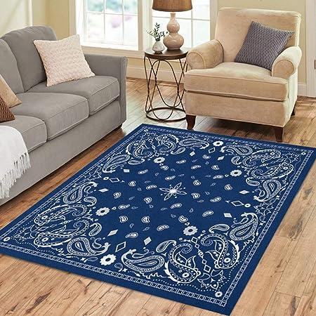 Pinbeam Area Rug Colorful Scarf Blue Paisley Pattern Bandanna Border Home Decor Floor Rug 3 X 5 Carpet Kitchen Dining