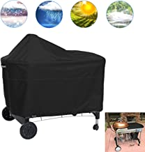 JJCKHE Outdoor Gas Grill Cover for Performer Charcoal Grill,Extra Large Ceramic Grill Cover with Offset Table, Heavy Duty Waterproof BBQ Cover, Barbecue Cover Black