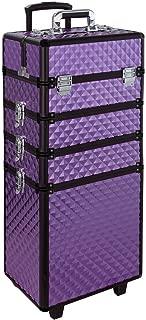 Rolling Makeup Case, Qivange 4 in 1 Aluminum Professional Makeup Trolley Case for Artists Beautician Travel Jewelry Train Case w/ 2 Wheels (Diamond Purple)