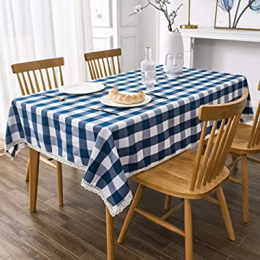 Kitchen and Outdoors BEBEN Checkered Rectangle Tablecloth Waterproof Decorative Fabric Tablecloth Stain Resistant Gingham Oilcloth with Lace for Dining Room