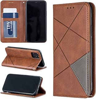 Protect Your Phone, Rhombus Texture Horizontal Flip Magnetic Leather Case with Holder & Card Slots & Wallet for iPhone XI 2019 for Cellphone. (Color : Brown)