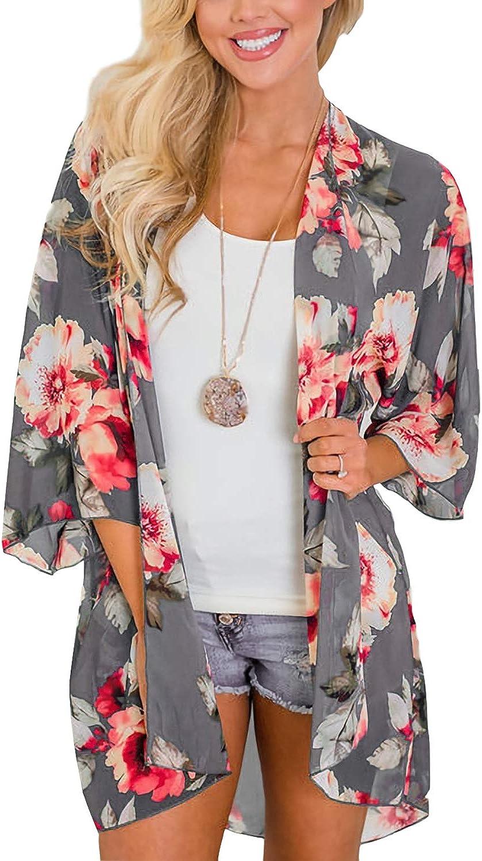 MayBuy Women's Flowy Summer Chiffon Kimono Cardigans Tops Boho Floral Beach Cover Ups Casual Loose Shirts