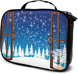 Cosmetic Bag Christmas Window Snowy Travel Makeup Bag Anti-wrinkle Cosmetic Case Multi-functional Storage Bag Large Capacity Makeup Brush Bags Travel Kit Organizer Women's Travel Bags
