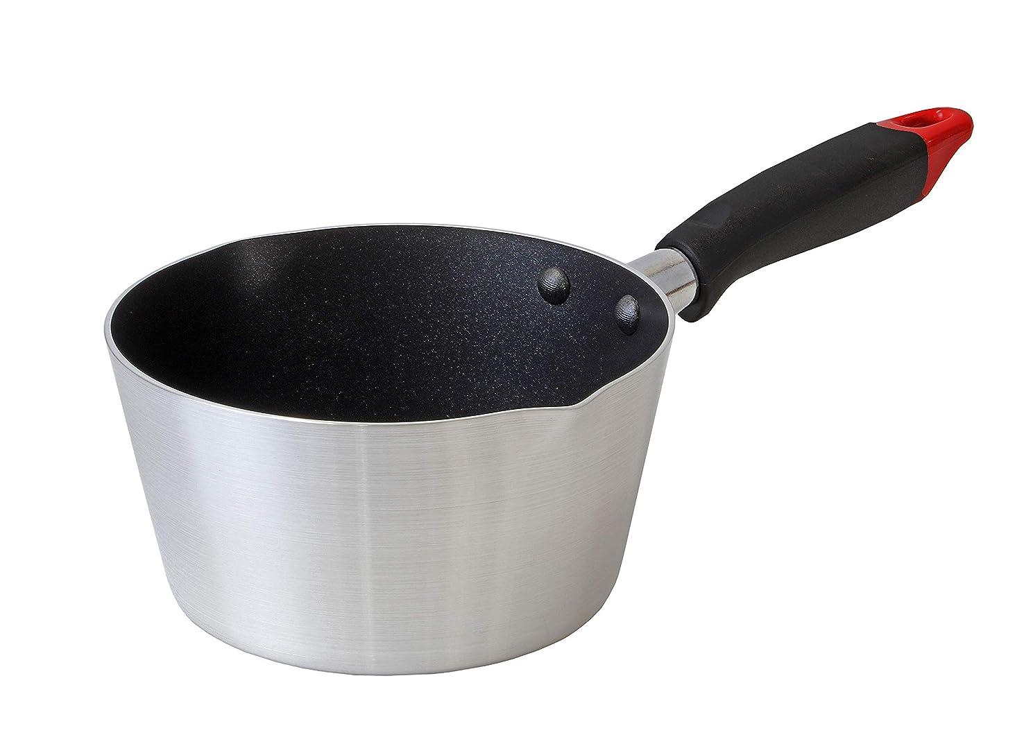 ハウス苛性有用パール金属 雪平鍋 シルバー 16cm プラスチック柄 ふっ素加工 アルミ キッチンメイト HB-4461