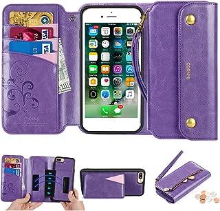 CORNMI iPhone 7 Plus/iPhone 8 Plus Wallet Case, Zipper Pocket 8 Card Holders Wrist Strap Kickstand Detachable Purse Leather Folio Flip Protective Cover for Apple 7+ 5.5'' / Apple 8+ 5.5'' Purple