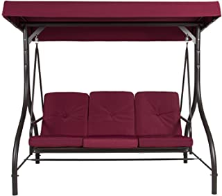 Belleze Outdoor UV Blocker 3 Seat Flatbed Cool Seater Canopy Swing Motion Gilder Converting Patio Rocking Chair Burgundy