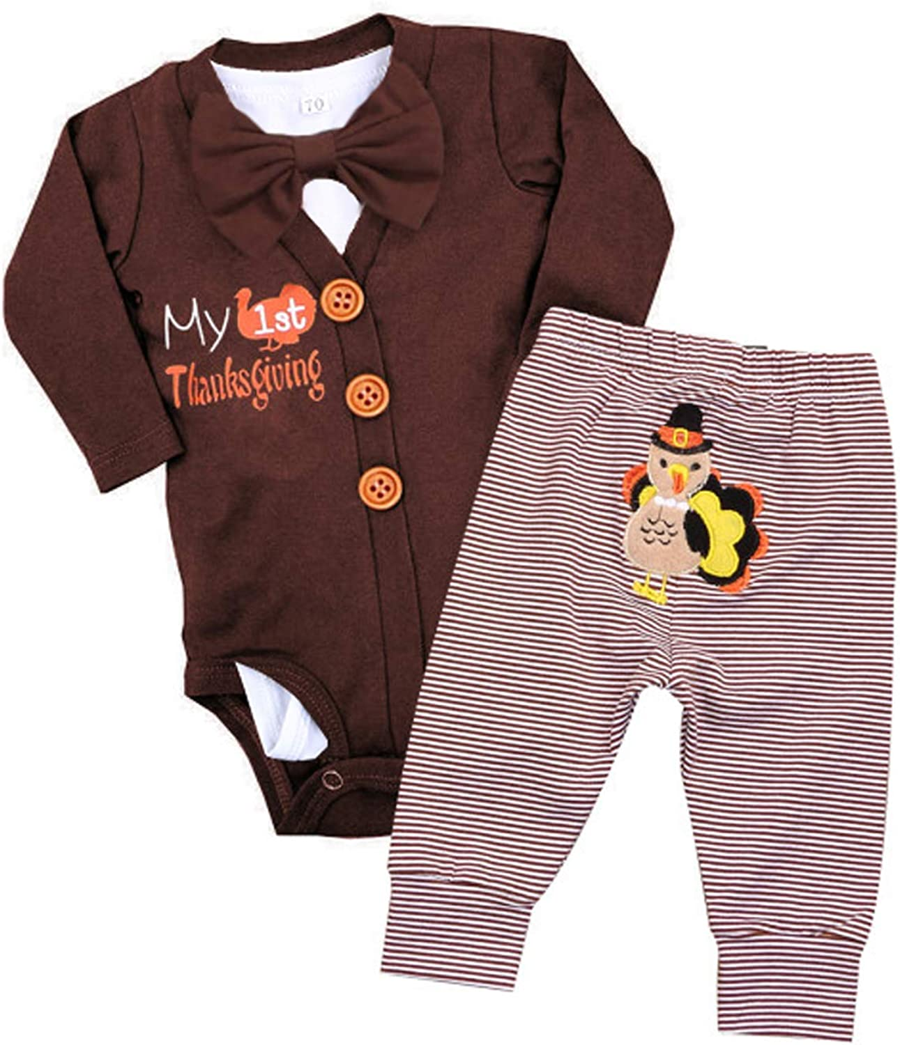 Baby Boys Thanksgiving Outfit Infant Boy My First Thanksgiving Bodysuit Romper + Turkey Pants Clothes 3Pcs Sets