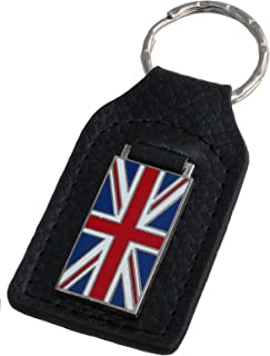 Triple-C Union Jack Flag Leather and Enamel Key Ring Key Fob