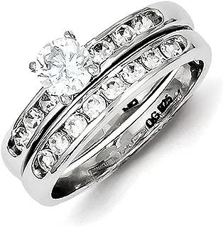 Lex & Lu Sterling Silver CZ Ring Set LAL44869
