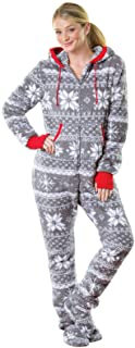 PajamaGram Hoodie-Footie One Piece Pajamas for Women - Fleece Womens Onesie