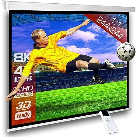 SlenderLine Schermo Proiezione Motorizzato 244x244cm Formato 1:1 con radiocomando per installazione a parete o soffitto