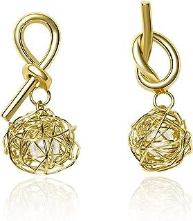 Chandelier Ohrringe Handgemacht Barock Draht Gewickelt Knoten Ball Perle 925er Silber 14K Gold Ohrringe Mode Frauenen Party Sommer Täglich