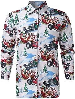 IZHH Mens Shirt Christmas Button t-Shirt Hawaiian Style Business Blouse Top Coat