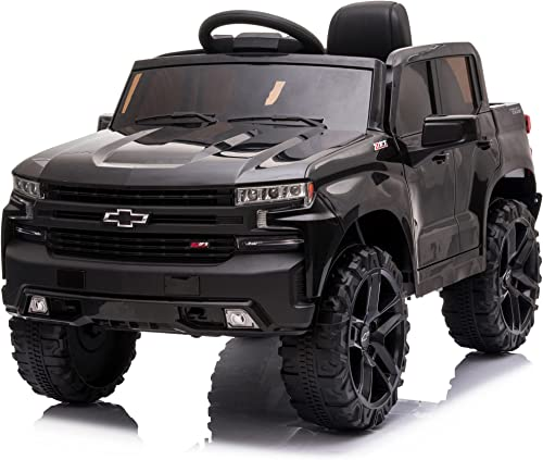 wholesale Kidzone 12V Battery Powered Licensed Chevrolet Silverado popular Trail Boss LT Kids Ride On Truck ATV Car, Toddler Electric Vehicles Toys w/ Remote Control, MP3/Bluetooth, Spring outlet sale Suspension, LED Light, Black online sale