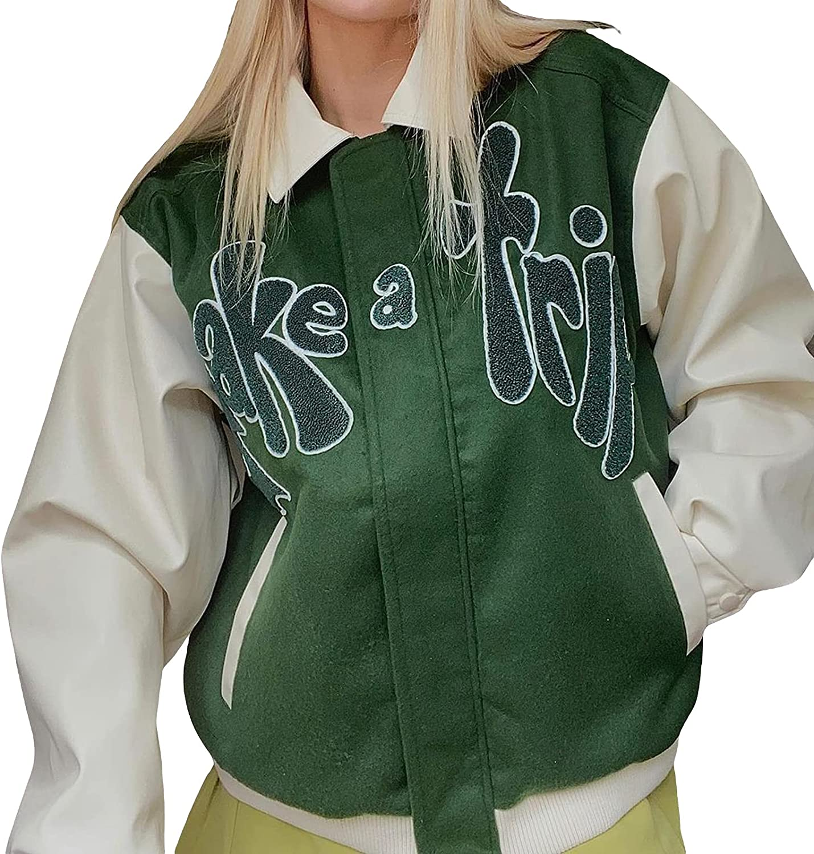 Y2k Simple Varsity Jacket Letters Baseball Uniform Preppy Style Chic Long-sleeve Casual Sweatshirt Outwear For Women