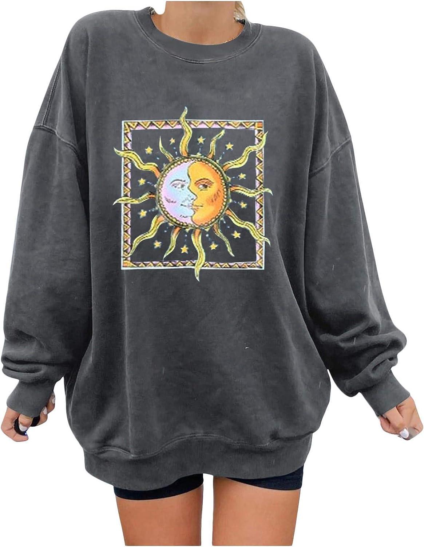 MASZONE Crewneck Sweatshirts for Women Vintage Sun and Moon Print Crewneck Pullover Plus Size Long Sleeve Blouses Tops