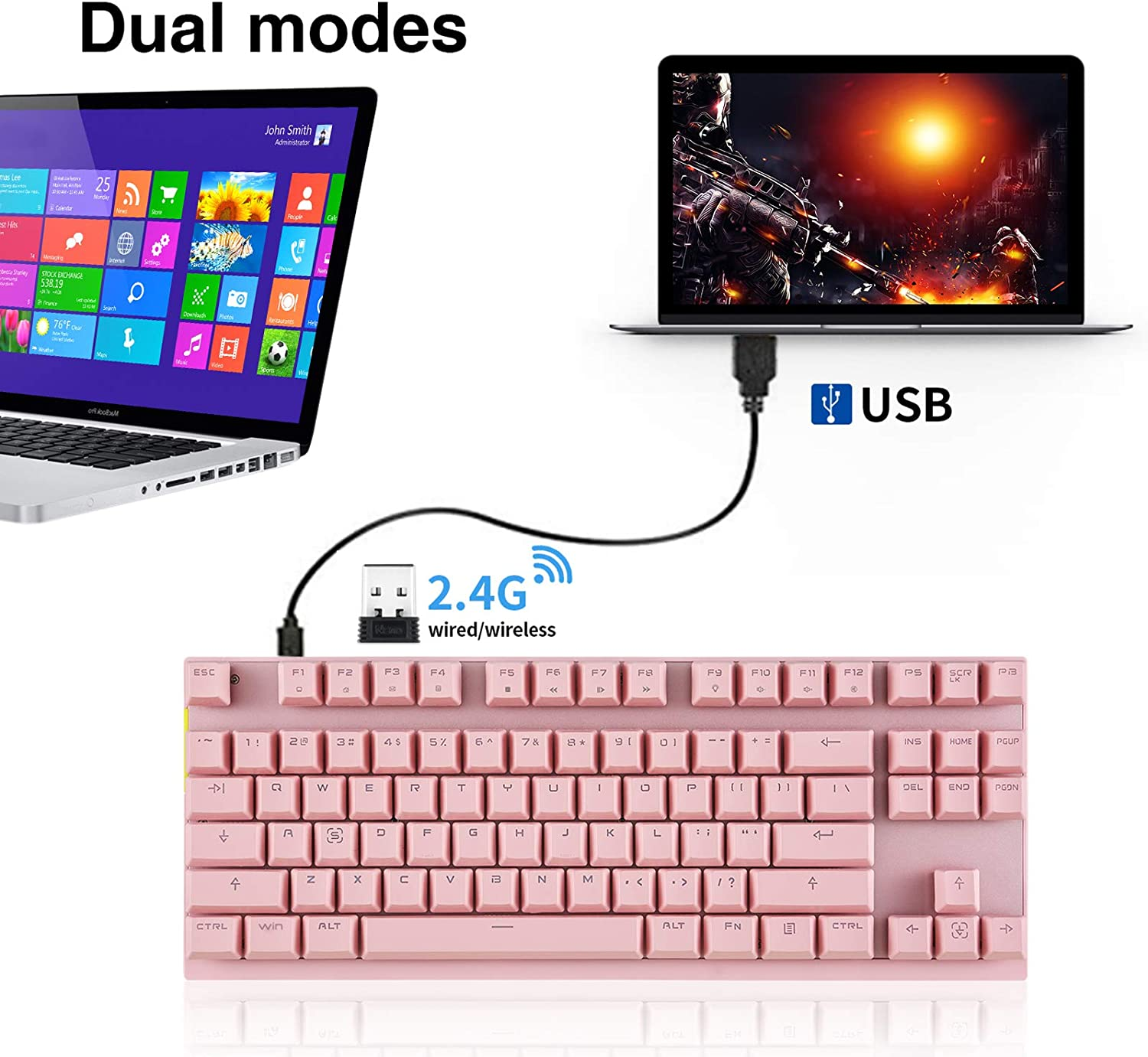 MOTOSPEED 2.4GHz Wireless//USB Wired Mechanical Keyboard 87Keys Led Backlit Black Switches Type-C Gaming Keyboard for Gaming and Typing,Compatible for Mac /& PC