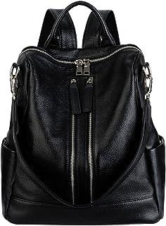 YALUXE Women's Convertible Real Leather Backpack Versatile Shoulder Bag (Upgraded 2.0)
