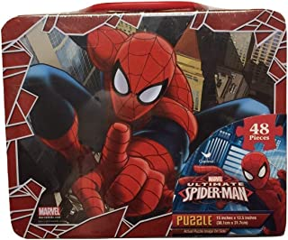 Marvel Spiderman 48 Piece Puzzle in Tin Lunchbox, Red, Blue, White
