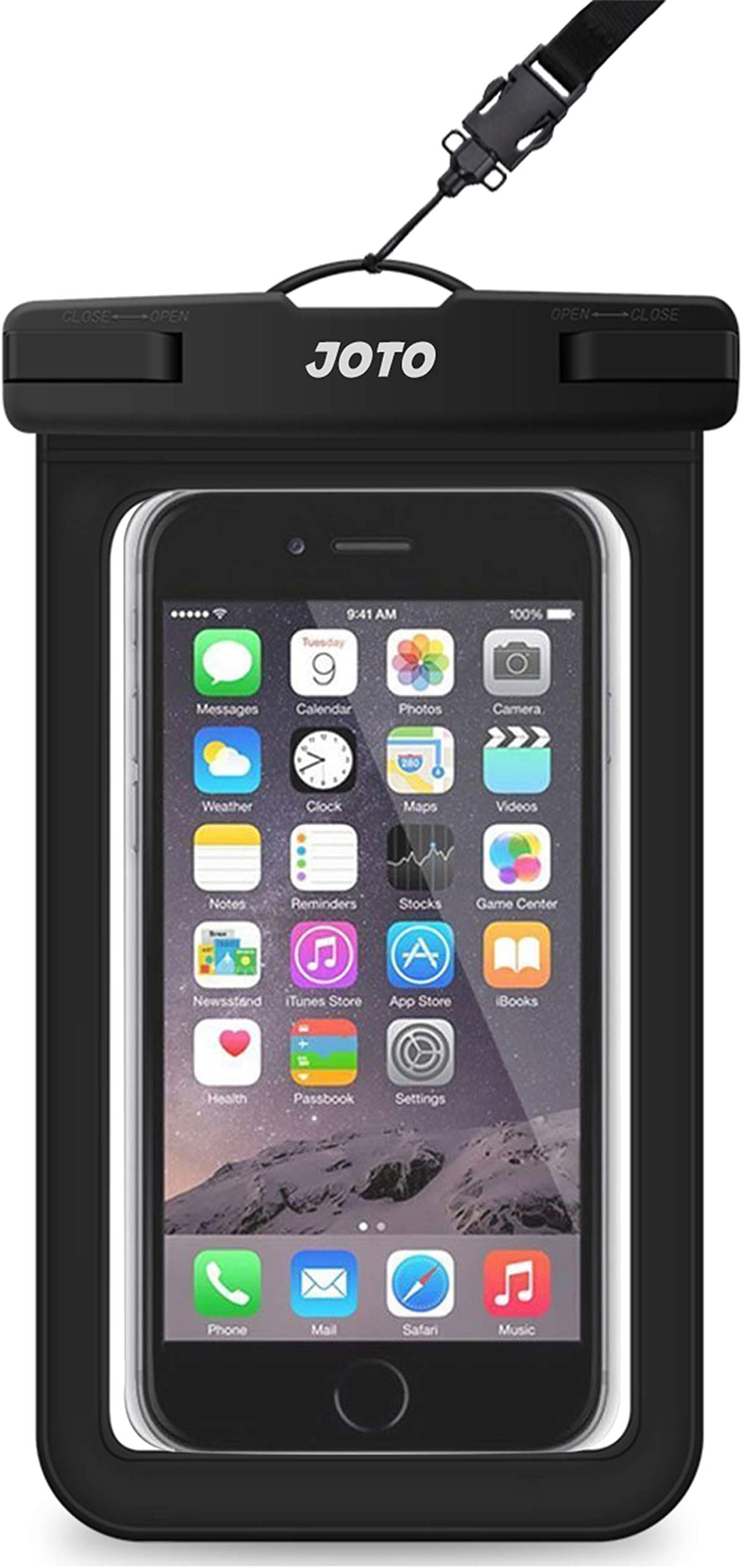 """JOTO Universal Waterproof Pouch Cellphone Dry Bag Case for iPhone 12 Pro Max 11 Pro Max Xs Max XR X 8 7 6S Plus SE, Galaxy S20 Ultra S20+ S10 Plus S10e /Note 10+ 9, Pixel 4 XL up to 6.9"""" -Black"""