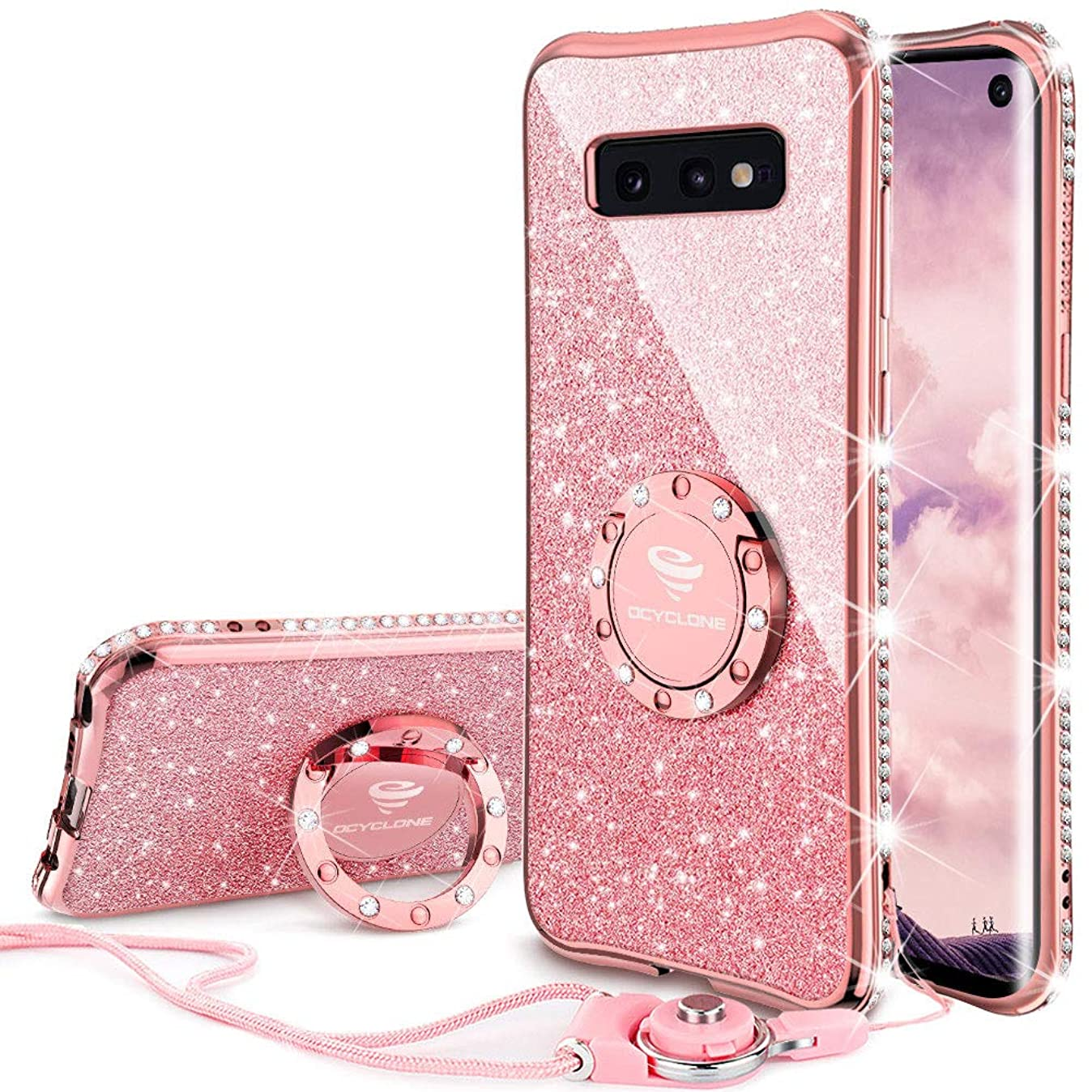 OCYCLONE Galaxy S10e Case, Glitter Cute Phone Case for Women Girls with Kickstand, Bling Diamond Rhinestone Bumper Ring Stand Compatible with Galaxy S10e Case for Girl Women - Rose Gold [Pink] t2954719850