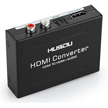 Musou 1080P HDMI Audio Extractor HDMI to HDMI + Optical Toslink(SPDIF) + RCA(L/R) Stereo Analog Outputs Video Audio Splitter Converter